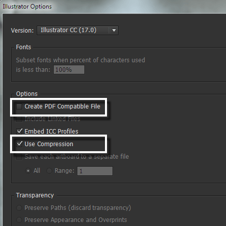 lựa chọn khi lưu file illustrator